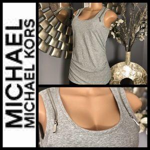 Michael Kors Gray Zipper Tank Top